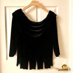 Off the shoulder all black velvet top by JBL Sz L